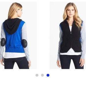 Two by Vince Camuto Elbow Patch Knit Hoodie